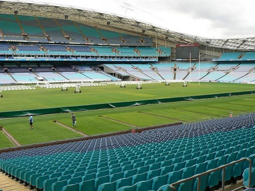 ANZ Stadium's pitch. Note the tracks used to move the seats in and out.