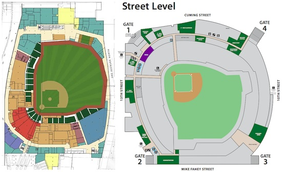 Event/Field level comparison between Target Field (left) and TD Ameritrade Park (right).