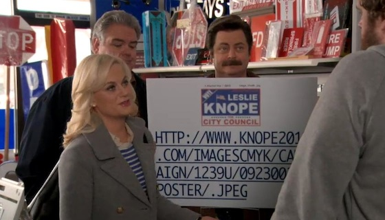 "For their sake I hope the signmakers pick a more technologically competent shop than the one the Knope campaign used. (The shop was named ""Signtology"".)"