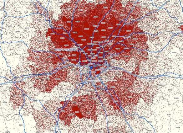 Map of locations of ticket purchasers for Braves games
