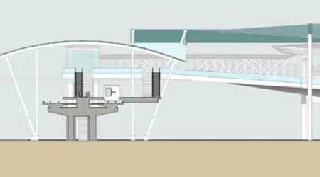 New side platform and access to BART pedestrian bridge