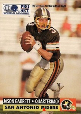 Card of future Cowboy backup QB and head coach Jason Garrett, whose career ended up far more successful than the WLAF