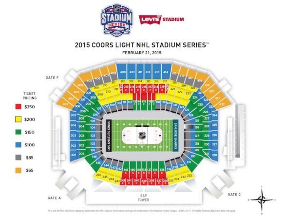 Seating chart for Stadium Series game