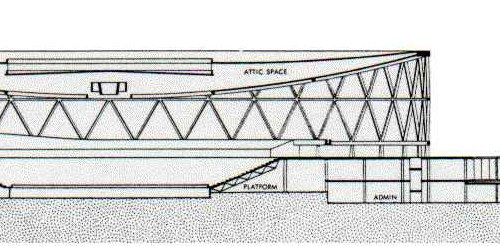 Old sketch of arena elevations, note drop ceiling