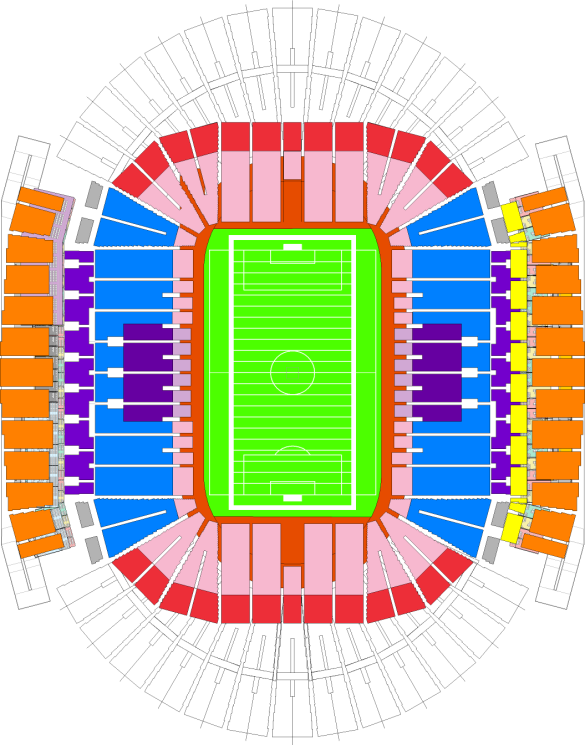 Phase IV: New end zone sections (temporary sections outlined)