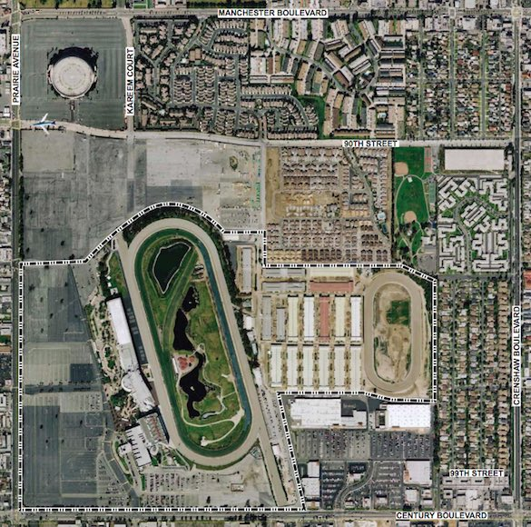 Kroenke's land is between the Forum (upper left corner) and the large race track.