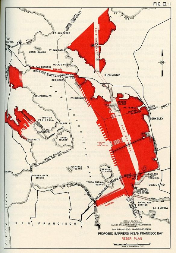 The Reber Plan would have filled in the Bay, provided new freshwater reservoirs, and new deep water harbors along the East Bay