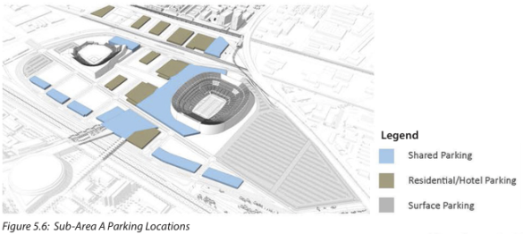 Blue and dark gray are garages, medium gray is surface parking