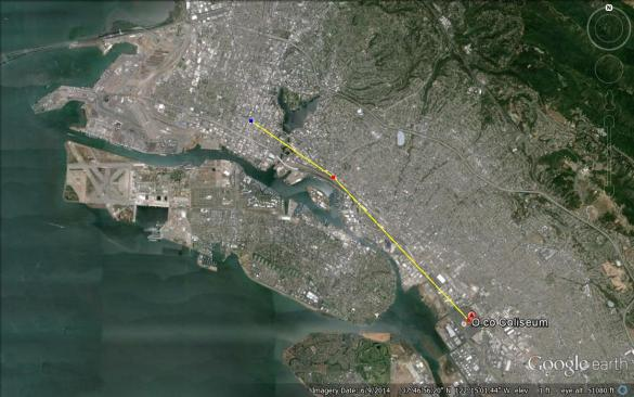 5.2 miles from the Coliseum to downtown Oakland