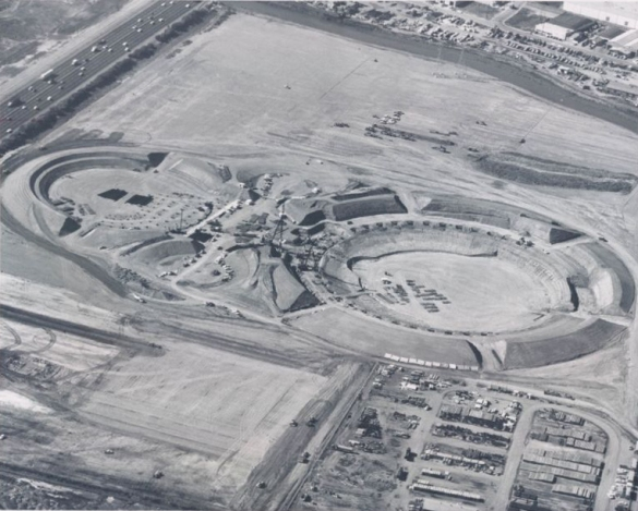 Early stages of construction at the Coliseum in 1965