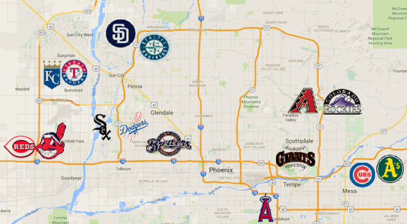 Map of Cactus League parks from Royals Review