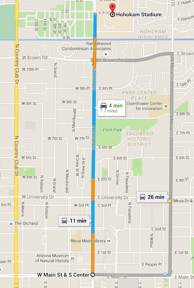 1.7 miles from the Center & Main light rail station to Hohokam