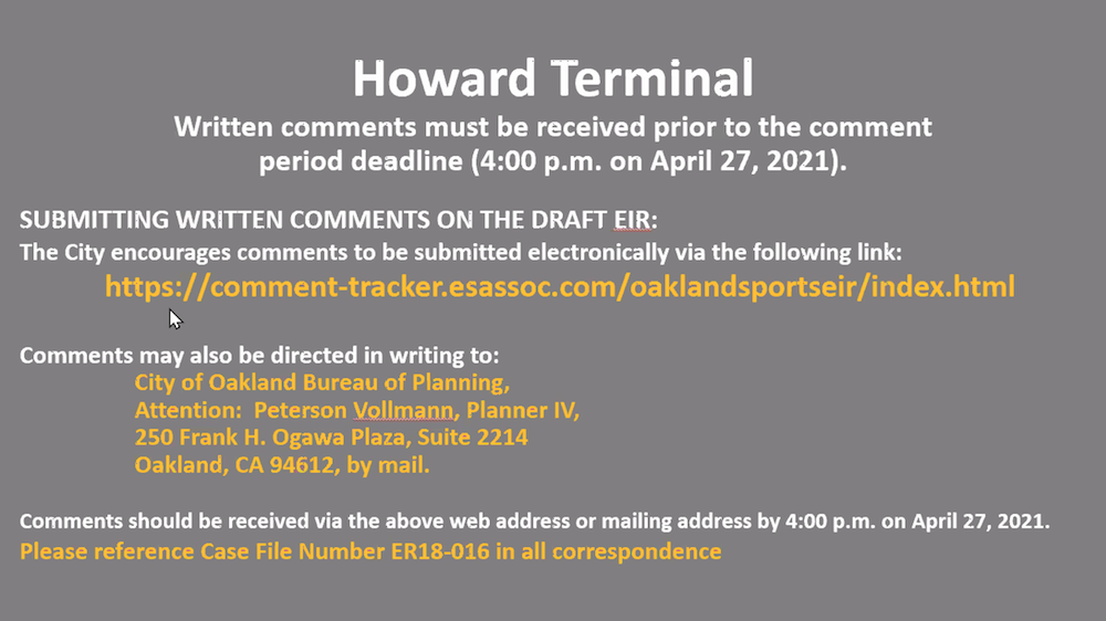 Howard Terminal Draft EIR Comment Deadline: 4/27/2021 at 4 PM